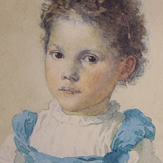 "Percival DeLuce (American, 1847-1914) Exceptional Watercolor of a ""Child"", WELL LISTED ARTIST"