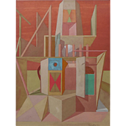 "Joseph Amarotico, (American, 1931-1985), Surrealistic ""ARCHITECTURAL FANTASIES"" Original Gouache on Paper — Well Listed PAFA Artist"