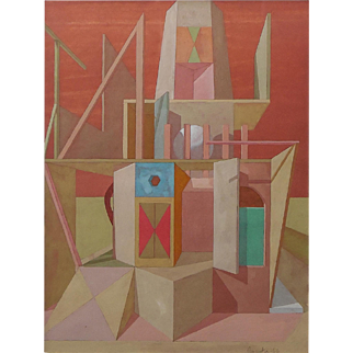 "Joseph Amarotico, (American, 1931-1985), Surrealistic ""ARCHITECTURAL FANTASIES"" Original Gouache on Paper — Well Listed PAFA Artist"