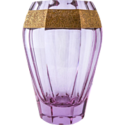 Moser Alexandrite Hand Cut Faceted Classical Vase with Etched Oroplastic 24K Gold Gilt Banding of Amazon Warriors — Czechoslovakia, Signed