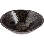 Roddy Brownlee Reed (American, 1916-2005) Modern Glazed Pinch Pot Bowl, MASTER POTTER, Earth Tones w/ Gold Flecks, Signed