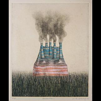 "LISTED ARTIST Kyu-Baik Hwang (Korean, 1932-) Titled ""Construction"" Mezzotint — c.1974 — MoMA Exhibited"