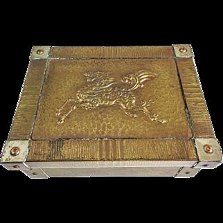 Japanese Showa Bronze Copper Lidded Scholar Box — Kee Lin (dragon Horse Animal)