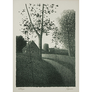 """LISTED ARTIST Robert Kipniss (American, 1931-) Titled """"Morning Path"""" Lithograph — c.1976 — MoMA Exhibited"""