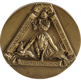 """""""Yankee Doodle"""" Scuptural Solid Bronze Medallion by Marcel Jovine — Society of Medalists — 0124/2500"""