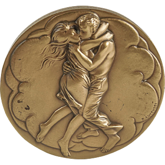 """Young Lovers"" ""Mother & Child"" Scuptural Solid Bronze Medallion by Bruno Lucchesi  — Society of Medalists — 92nd Issue"