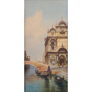 "Eugenio Benvenuto (Italian, 1847-1914) Exceptional Watercolor of ""Venice"" Seascape, WELL LISTED, Highly Collected ARTIST"