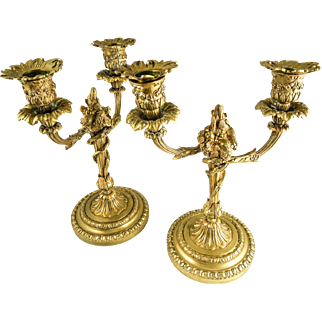 FINE Floral Detailed Pair of Bronze Ormolu Candelabra, English or French, 19th Century — Gilded
