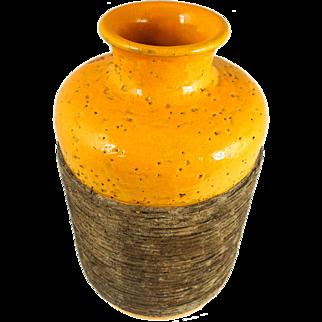 Mid Century Aldo Londi Bitossi Ceramiche Italian Vase w/ Incised Band, Bright Orange and Browns — HEAVY