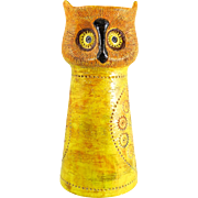 "Mid Century Italian Aldo Londi Bitossi Sgraffito ""OWL"" Candle Stand for Rosenthal Netter, Oranges, Yellows, Greens — TALL and HEAVY"