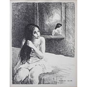 """LISTED ARTIST Raphael Soyer (Russian American, 1899 -1987) Original """"Woman On Bed"""" Untitled Lithograph — Plate Signed"""