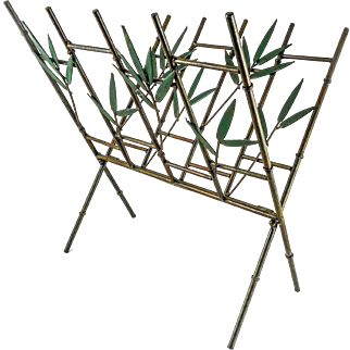 Metal Faux Bamboo & Leaf Folding Magazine Rack — Hollywood Regency Mid Century Style.