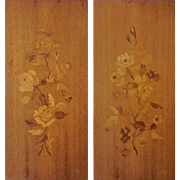German Buchschmid and Gretaux Studios Marquetry Hanging Panels (Pair) — Mid Century Modern c.1950s, Signed BG — HIGHLY COLLECTED.