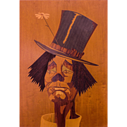 """Italian Exotic Marquetry Panel """"SAD CLOWN Face"""" — Mid Century Modern, c.1950s, Rare Art Form, HIGHLY Collected"""