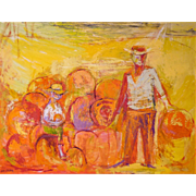 "LISTED ARTIST Vivian Steinberg (1920-1985) Original Oil on Masonite ""Pumpkin Pickers"" — Modernist"
