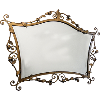 FINE Italian Gold Leaf Heavy Metal Mirror with Floral Motif — Rose Buds and Leaf Design, Beveled Glass, c.1920s