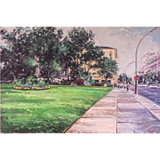 """LISTED ARTIST Chris Nissen (American, 1949) """"Street Side Park"""" Cityscape Painting, c.1984 — Oil on Canvas — Highly Collected & Accomplished PAFA NJ PA Artist"""