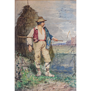 """Publio de Tommasi (Italian, 1849-1914) Original Antique c. 1877 Watercolor on Paper of """"Farmer Peasant"""" — Well Listed & Collected"""