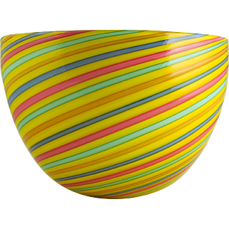 CENEDESE Murano Art Glass Mezza Filigrana Bowl — Canes of Pink, Yellow, Orange, Blue & Green — LARGE Labeled & Signed, c.1970s