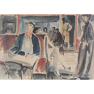 """Sacha Chimkevitch (French, Polish, 1920 -2006) """"Paris"""" c. 1959 — Original Watercolor Wash and Ink on Paper — Well Listed — Mid Century"""