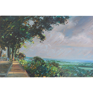 LISTED ARTIST Chris Nissen (American, 1949) Seascape Painting, c.1980s — Oil on Thick Panel— Highly Collected & Accomplished PAFA NJ PA Artist