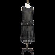 1920s Black Silk Chiffon Beaded Flapper Dress