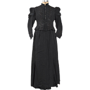 Reserved for Jen -- Rare 1875 Victorian Heavily Beaded Silk Faille Mourning Dress