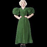 Outstanding 1890s Victorian Green Silk Taffeta Ball Gown
