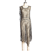 Rare 1920s Parisian Risqué Metallic Lace & Lamé Asymmetrical Flapper Dress