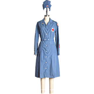 Rare 1942 WWII Red Cross Volunteer Staff Assistance Corps Washable Indoor Uniform