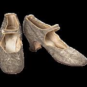 1920s J&T Cousins Silver Lamé Brocade Evening Shoes
