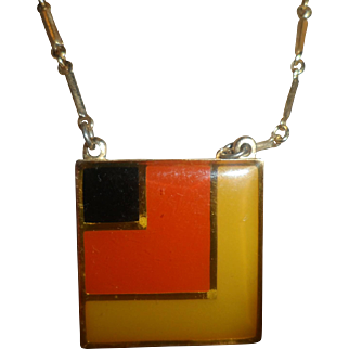 Signed Coventry Square Multi Colored Enameled Pendant and Chain