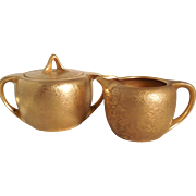 Ovington's Gold Encrusted Oval Porcelain Creamer Cream Pitcher and Matching Sugar Bowl