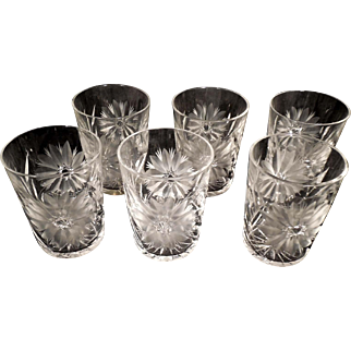 6 American Brilliant Period Cut Glass Crystal Rocks Glasses Tumblers Daisy Leaf