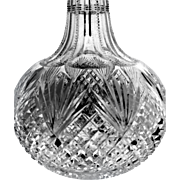 Hawkes American Brilliant Cut Glass Crystal Decanter Bottle Strawberry Diamond and Fan