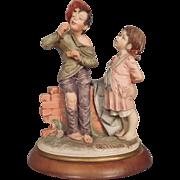 Italian Capodimonte Figure Figurine Boy Smoking with Girl B Bruno Merli