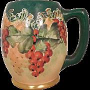 American Belleek Lenox CAC Porcelain Beer Mug Tankard Red Berries