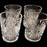 4 American Brilliant Period Cut Glass Crystal Rocks Glasses Tumblers Daisy Leaf