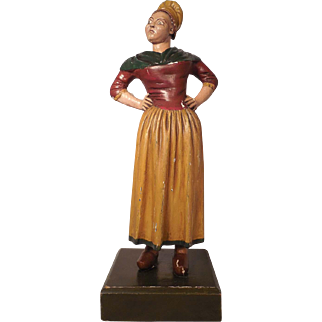 19th C French Carved Wooden Figure of an Angry Knitter Woman Tricoteuse de Robespierre