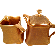 Gold Encrusted Oval German Porcelain Creamer Cream Pitcher and Matching Sugar Bowl