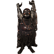 Carved Soapstone Stone Buddha Figure Statue with Bronze Patina