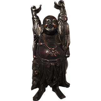 Carved Soapstone Stone Buddha Figure Statue with Bronze Patina
