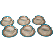 6 English Worcester Royal China Works George Grainger Turquoise Cups and Saucers