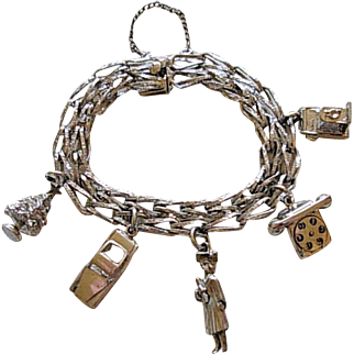Double Link Sterling Charm Bracelet with Vintage Charms