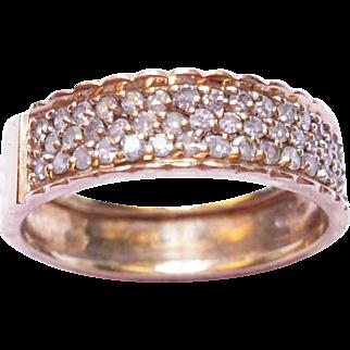 Fine Vintage 14K Rose Gold Diamond Pave Ring, Band