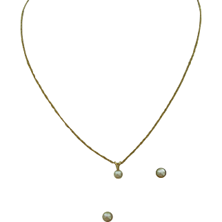 Set in 14K - Single Cultured Pearl Necklace and Matching Post Earrings