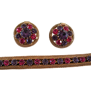 Weiss Pink and Purple Stone Earring and Bracelet Set