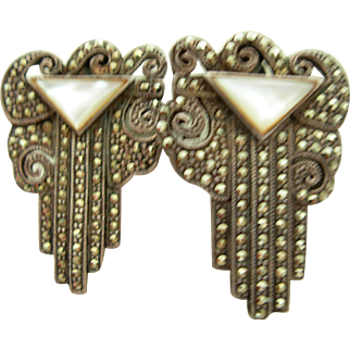 Art Deco Marcasite and MOP Clip Earrings