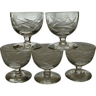 Five Small Vintage Etched Glasses