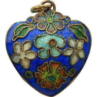 Double-Sided Enameled Puffy Heart Pendant